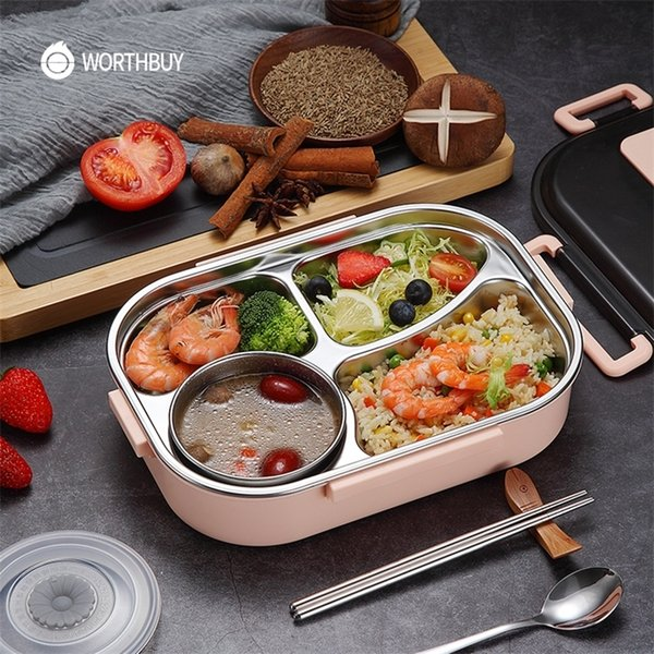 top popular WORTHBUY Japanese Kids Lunch Box With Tableware Bowl 304 Stainless Steel Food Container With Compartments Microwave Bento Box 201210 2021