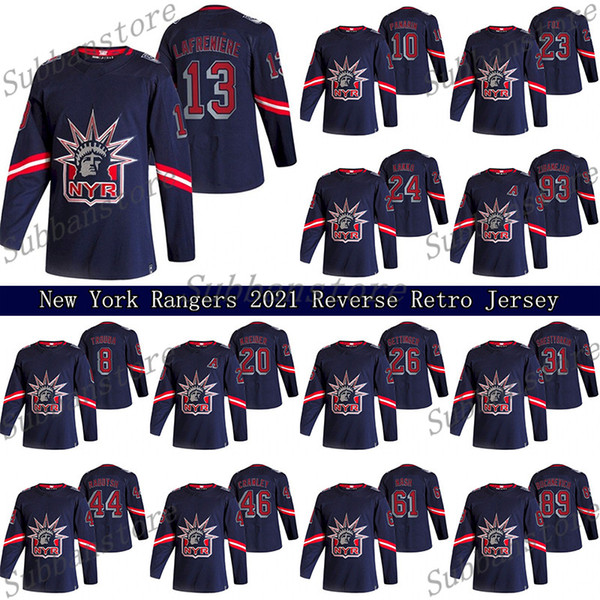 top popular New York Rangers 2021 Reverse Retro Jersey 10 Artemi Panarin 24 Kaapo Kakko 23 Adam Fox 13 Alexis Lafreniere Hockey Jerseys 2021