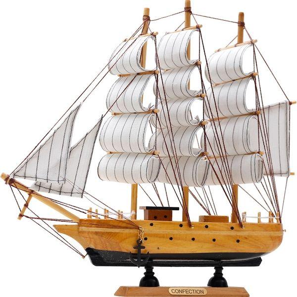 top popular Mediterranean Wooden Crafts Sailing Boat Figurine Ornament Vintage Simulation Sailboat Model Ship Home Office Desktop Decor Gift Y200428 2021