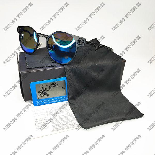 black frame ice blue lens