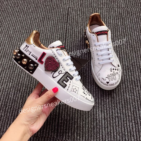 top Man Shoes Fashion Women Shoes Men's Leather Lace Up Platform Oversized Sole Sneakers White Black Casual hc190704