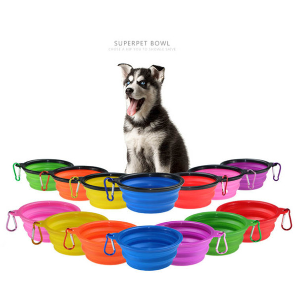 top popular Dia13cm Collapsible foldable silicone dog bowl candy color outdoor travel portable puppy doogie food container feeder dish 2021