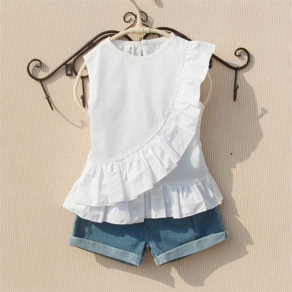 top popular Girls Summer Blouse 2019 Teenage School Girls Tops and Blouses Cotton White Shirt for Girl Solid Red Shirts Children Clothing Y200704 2021