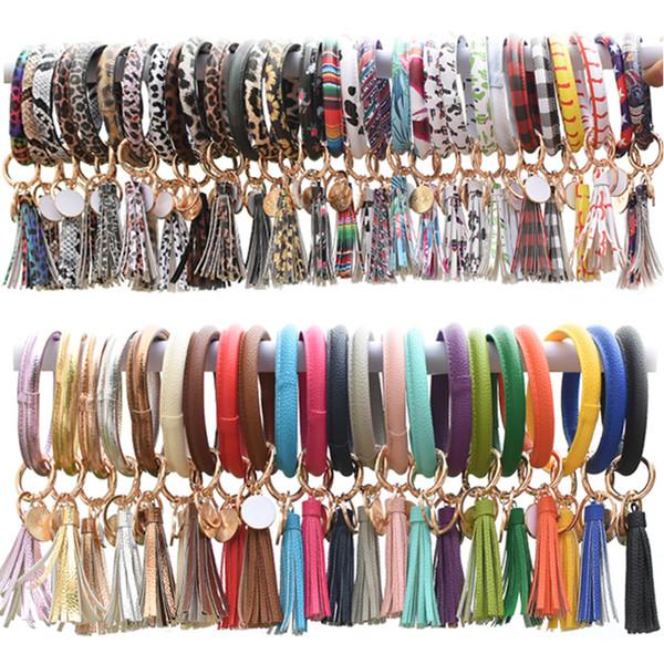best selling 90 Colors Tassels Keyring Bracelets Wristlet Keychain Bracelet Circle Key Ring Bangle Key Ring Chain for Women