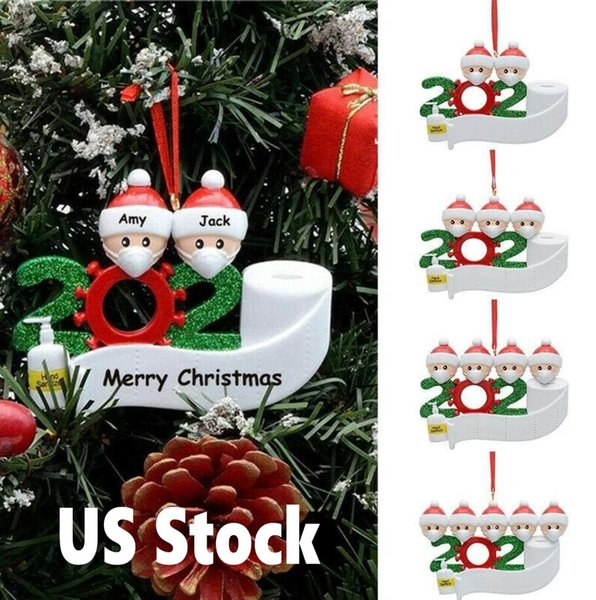 top popular 24H ship US Stock Christmas Ornament DIY Greetings 2020 Quarantine Birthday Party Pandemic Social Distancing ree Pendant Accessories 4265 2020