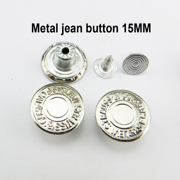 top popular 200PCS 15MM Silver Star Jean Buttons Brand Metal Jeans Button Decoration Sewing Clothes Accessories JMB-290 2021