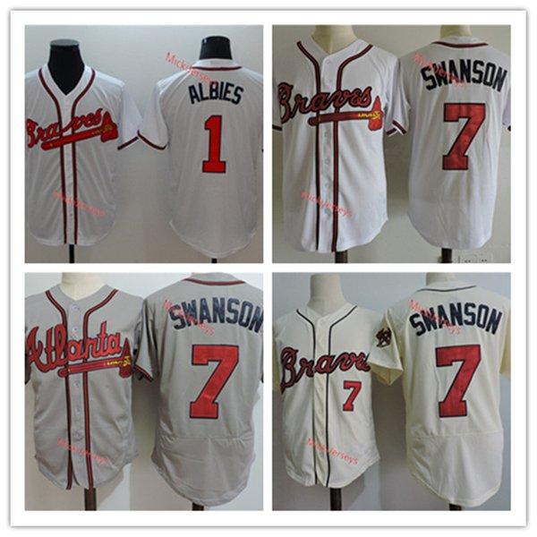 best selling Discount Mens #1 Ozzie Albies Jerseys Stitched white #7 Dansby Swanson Baseball Jerseys S-3XL