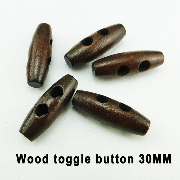 best selling 200PCS 30MM wooden deep coffee horn button toggles clothes sewing buttons clothing accessory WHB-091