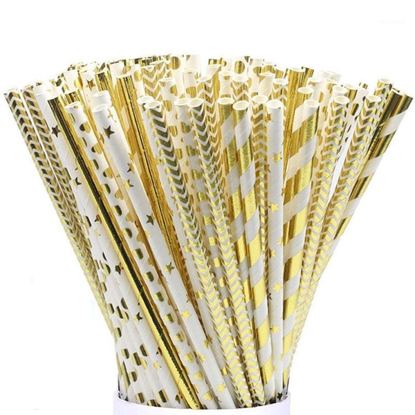 top popular 25pcs pack Gold Foil Paper Straws For Kids Baby Shower Birthday Party Wedding Decorative Event Supplies Drinking Straws1 2021