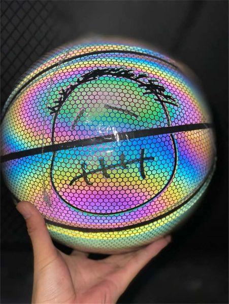 best selling Holographic Luminous basketball Rainbow 3M reflect light black basketball PU leather Indoor outdoor basketball 7 Net + inflator + Needle