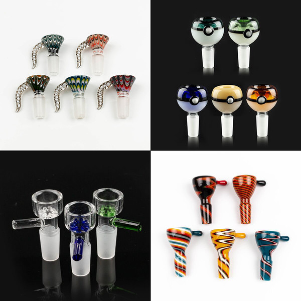 top popular Wholesale 14mm bowl and 18mm Male glass bowl With flower Snowflake Filter bowls For Glass Water Bongs bongs smoking bowls 2021