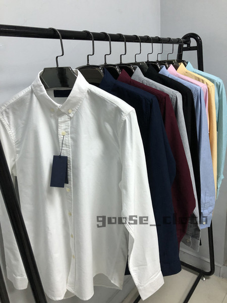 best selling New 2021 Mens Designer Shirts Fashion Casual Shirt Men Slim Fit Shirts Stripe Womens small horse Man Solid Color 2020 Business Dress Shirt