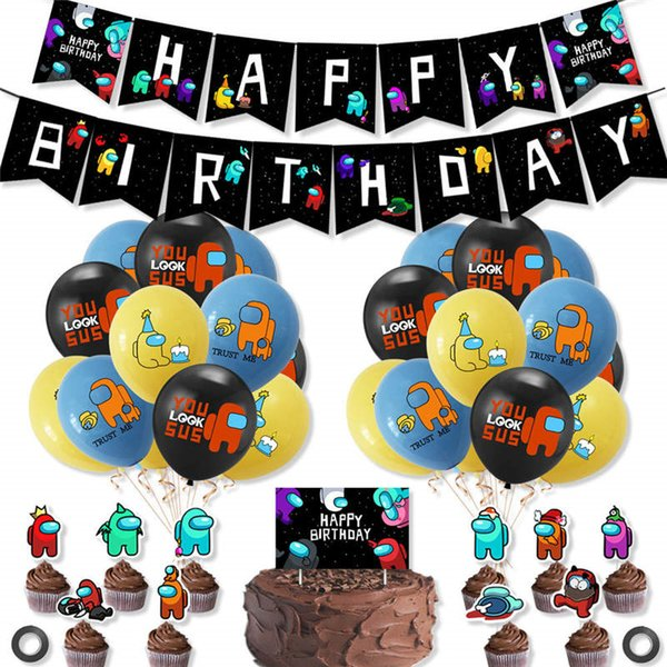 best selling among us Space Werewolf Killing Game Theme Party Balloon Flag Pulling Set Birthday Banner Cake Card Decoration