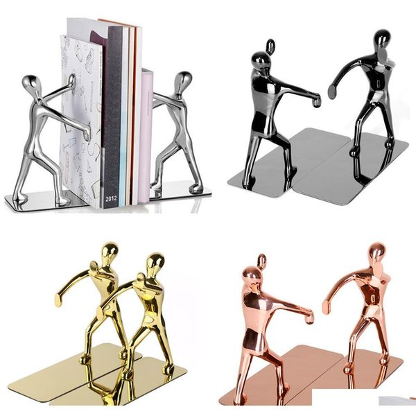 best selling 1 pair heavy duty zinc alloy man decorative bookends, nonskid metal book ends for shelves, book support, book stopper for books,