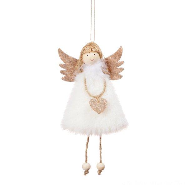 Colgante de ángel de peluche blanco