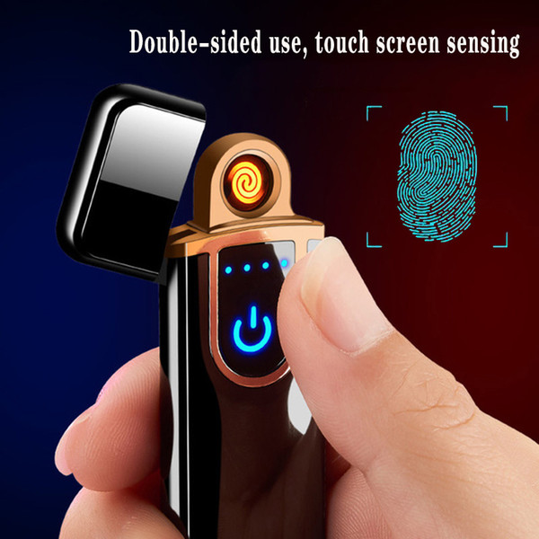 best selling Novelty Electric Touch Sensor Cool Lighter Fingerprint Sensor USB Rechargeable Portable Windproof lighters Smoking Accessories 12 Styles