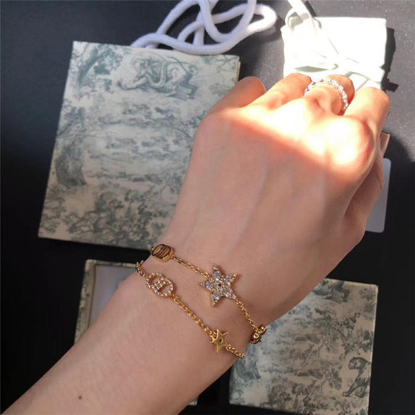 best selling 2020 Seiko High version new two-piece bracelet five-pointed star women's gold letter water brick bracelet