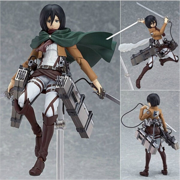 best selling Anime Attack on Titan 203 Mikasa Ackerman Figma Action 15CM PVC Figure Model Toy Figurine Doll Collectible Q1217