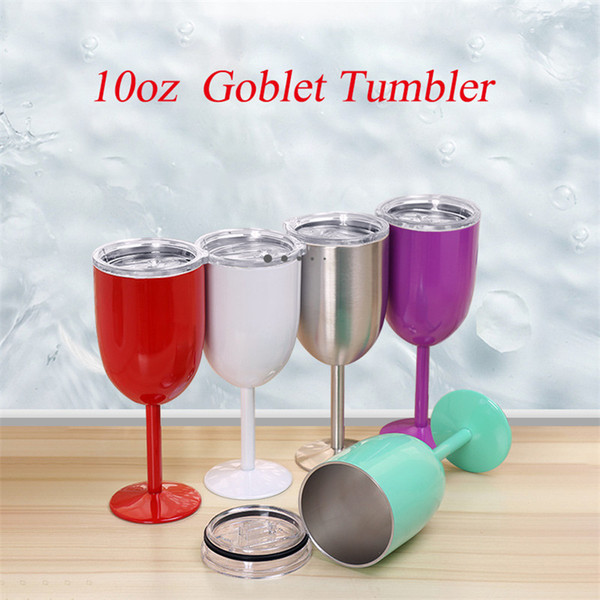 best selling Wine Glasses 10oz Goblet Tumbler Stainless Steel Vacuum Double layer thermos cup Drinkware Wine Glasses Red Wine Mugs Glass