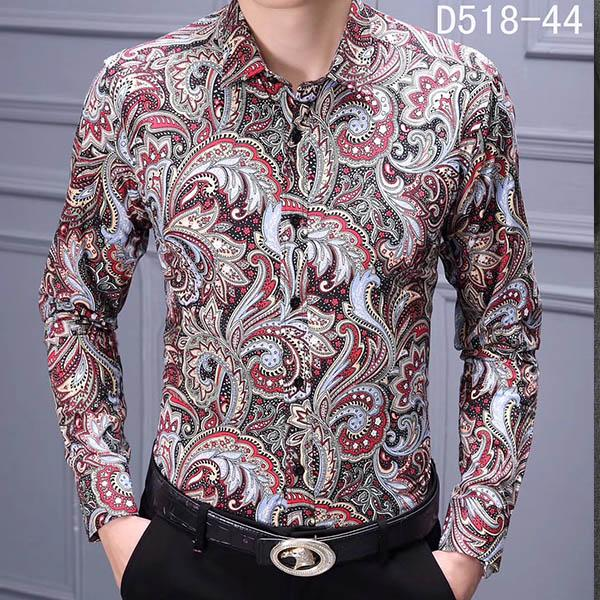best selling HOT Fashion Designer Slim Fit Shirts Men Black Gold Floral Print Mens Dress Shirts Long Sleeved Business Casual Shirts Males Clothes