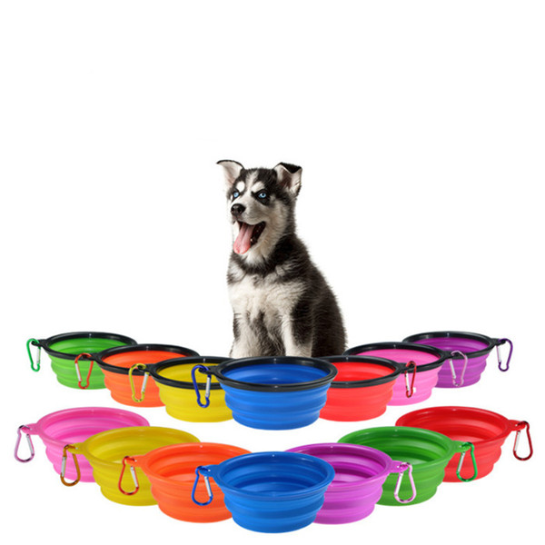 top popular Feeders Dog Cat Water Dish Feeder Silicone Foldable Feeding Bowl Travel Collapsible Pet Feed tools 12 Colors WLL537 2021