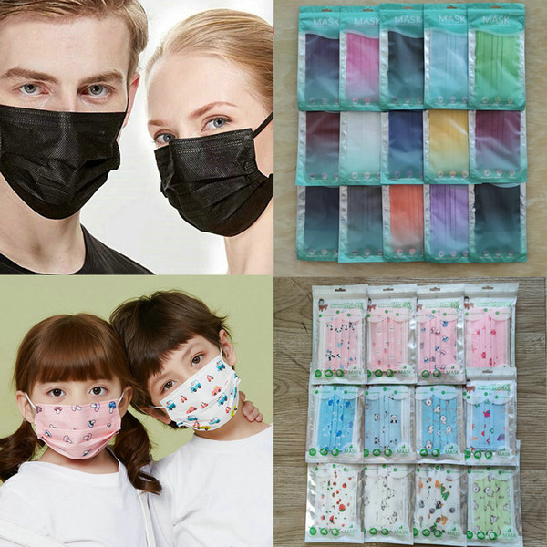 top popular 15 colors Fashion Face Mask 50 PCS Retail package 3 layers Disposable Mask Protective Non-Woven Anti-Dust Adult Kids mascarilla mascherina 2021