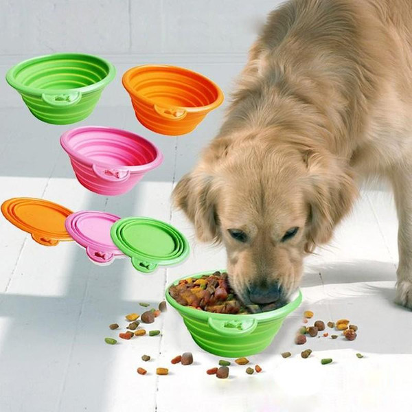 top popular Collapsible foldable silicone dog bowl candy color outdoor travel portable puppy doogie food container feeder dish 2021