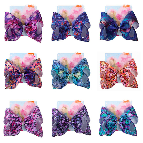 best selling 104Colors Baby Girls Bow Hair clips Mermaid clover Flamingo print Hair Accessories Barrettes Kids 8 inch Headdress hair bows with Clip C6580