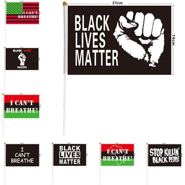 best selling 21*14cm I Can't Breathe Justice Flag for Black People US Handheld Outdoors Banner Flag Polyester Black Lives Matter Peace Flag 2020 Hot