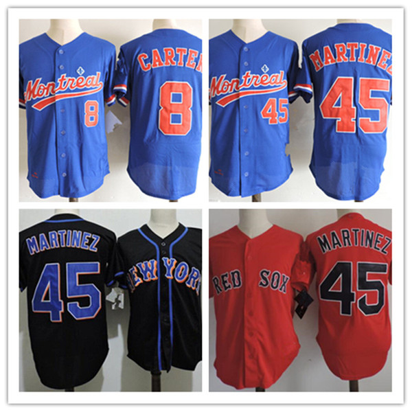best selling Mens Vintage Montreal Expos #8 Gray Carter Jerseys Stitched white Red 2015 HOF patch #45 Pedro Martinez Baseball Jerseys S-3XL