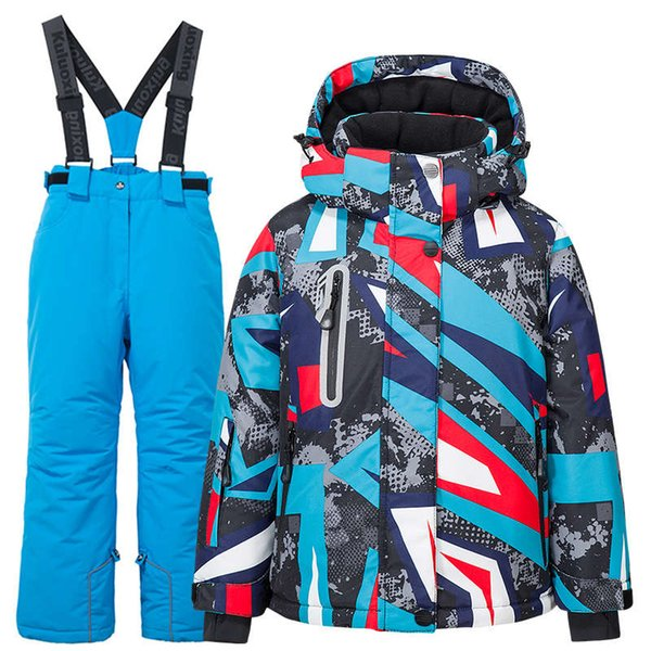 top popular Kid -30 Windproof Waterproof Warm and Ski Pants Childrens Outdoor Snow Suit Winter Thicken Snowboard Jacket 2021