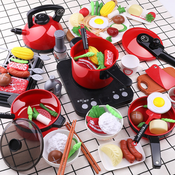 top popular Infant Shining Kitchen Set for Kids Kitchen Toy Baby Cooking Cook Model Infant Play House Kitchen Hot Pot Series Play Food Toys LJ201009 2021