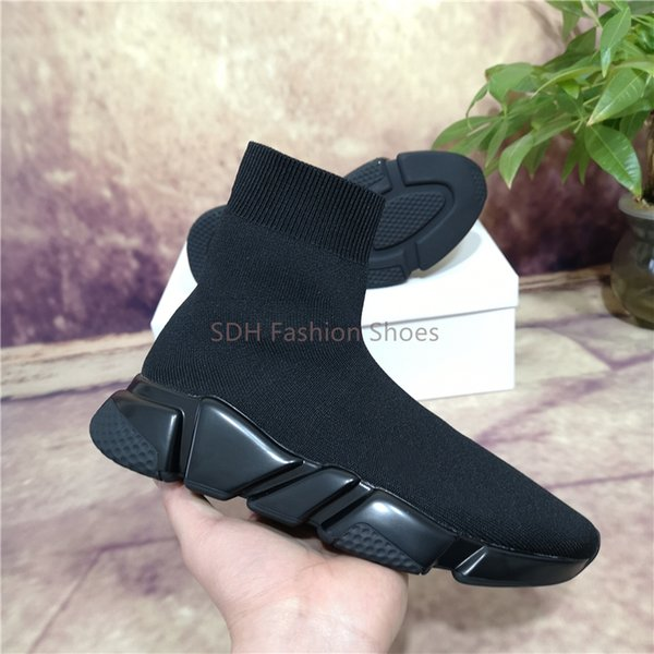 best selling 2021 Cheap Best Quality Speed Trainer Black Walking Shoes Mens Womens Black Casual Shoes Fashion Socks Shoes Size 35-45 With Box Dust Bag