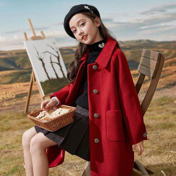 top popular Winter Girls Classic Long Jackets England Style Thicken Thermal Long Coats Kids Children Woolen Cloth Outerwear Overcoats Q1123 2020