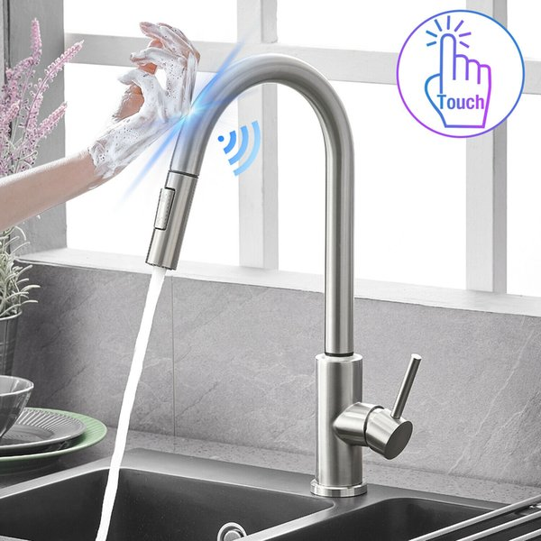 best selling Automatic Touch Sensor Kitchen Faucet with Pull down Sprayer Stainless Steel