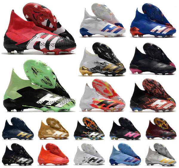 best selling 2020 Predator Mutator 20+ FG Human Race InFlight SKY TINT PP Paul Pogba Mens Boys Slip-On Soccer Football Shoes 20+x Cleats Boots US6.5-11