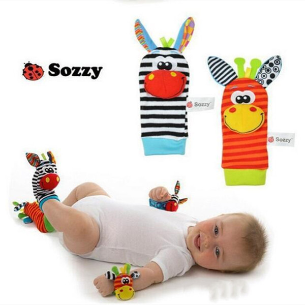 top popular Sozzy Infant Toy Soft Handbells Baby Hand Wrist Strap Rattles Animal Socks Foot Finders Stuffed Toys Christmas Gift WQ143-WLL 2021