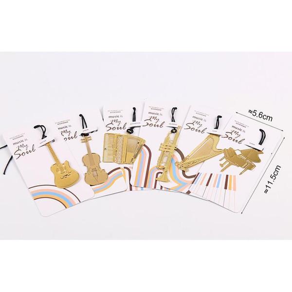 best selling 1pc Cute Gold Metal Bookmark Fashion Music Piano Guitar Bookmark For Book Creative Gift Korean St jllAAn
