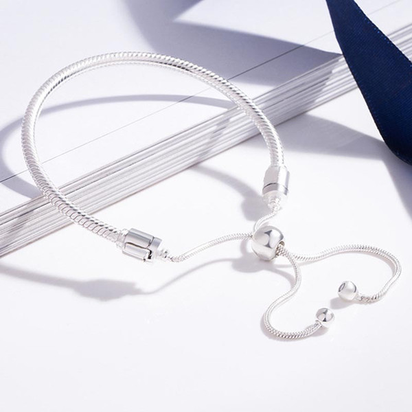 best selling New MOMENTS Bracelet Authentic 100% 925 Sterling Silver Adjustable Snake Chain Bangle & Bracelet for Women Luxury Jewelry