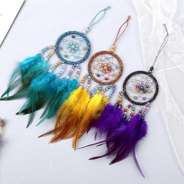 best selling Manual Dreamcatcher Wind Chime Feather Bead Round Aeolian Bells Home Furnishing Decorative Trinkets Dream Catcher Hanging