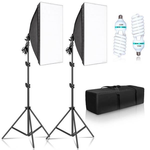 Produtos eletrônicos de consumo 50x70cm Softbox Iluminação Kits Sistema de luz profissional com E27 Bulbos fotográficos Photo Studio Equipamento