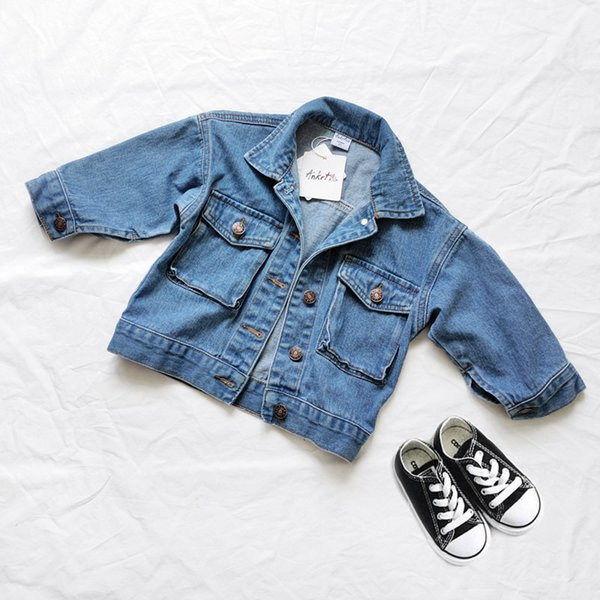 best selling Kids Denim Coat New Autumn-winter Jacket for Boys Fashion Parent-child Clothes Long Sleeve Girls Single-breasted Casual Tops Q1123