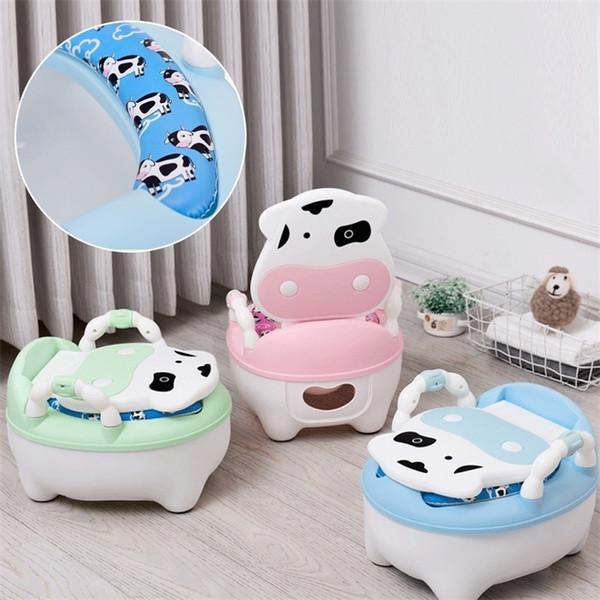 top popular Portable Baby Pot For Children Potty Training Toilet Seat Baby Potty Infant Cow Comfortable Backrest Children Cartoon Cute Pot 201117 2021