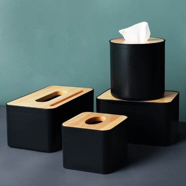 top popular Modern Black Color Tissue Containers with Phone Holder Wood Cover Seat Type Roll Paper Tissue Canister Cotton Pads Storage Box Y200328 2021