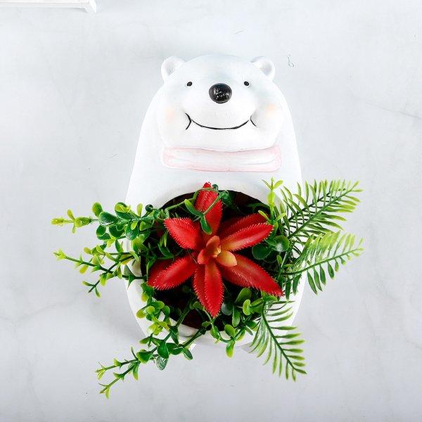 Tarro de flor de oso blanco