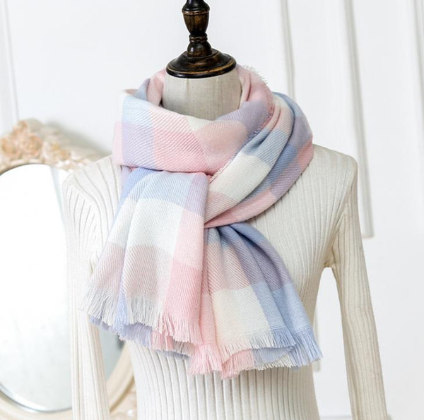 top popular Top quality fashion Silk Pashmina scarf women charm style Warm silk cashmere scarf composed vertical horizontal plaid scarves 2021