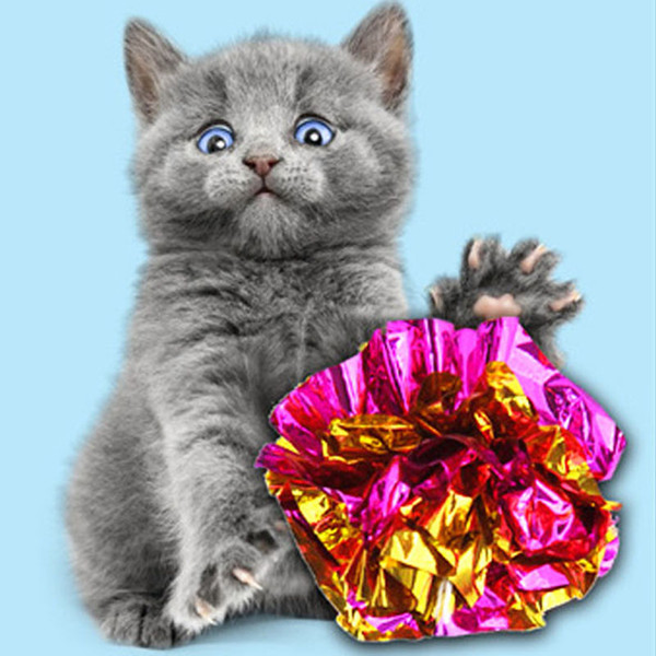 best selling Cat Toy Tin foil Colorful Ring Paper Shiny Interactive Sound Ball Crinkly Balls Cats Sound Toys Pet Play Balls VTKY2351