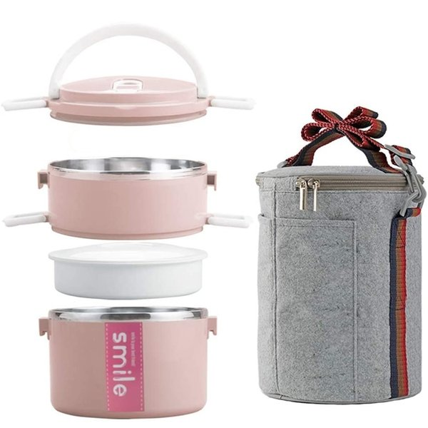 best selling Portable Thermos Lunch Box Food Container Bento Box Stainless Steel Insulated Microwaveable Lunch Box Container with Bag 201210