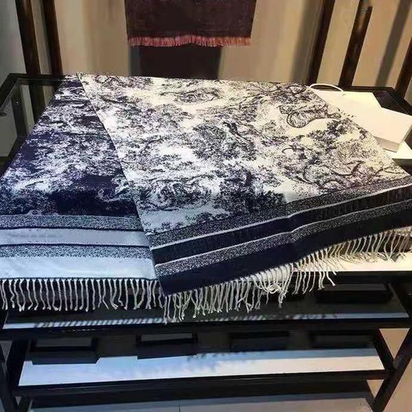 top popular D MAISON designer FIERCE Toile de Jouy shawl wool luxury scarfs designers winter ladies mens womens cashmere scarf 2021