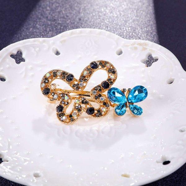 蝴蝶 发夹 6 公分 蓝色
